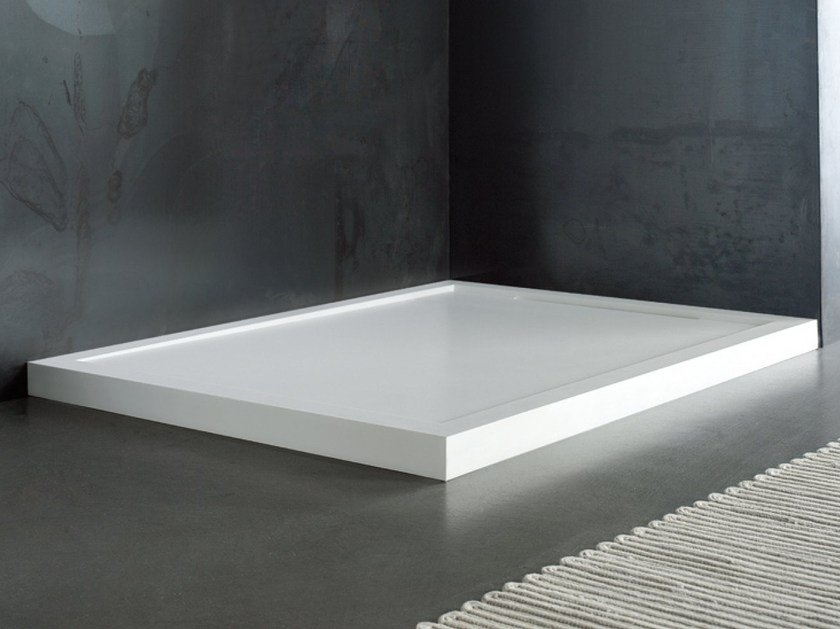 Custom Solid Surface shower tray FLOW | Shower tray by Blu Bleu
