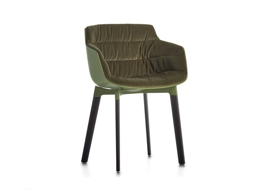 Polycarbonate chair with armrests FLOW SLIM COLOR | Chair with integrated cushion by MDF Italia
