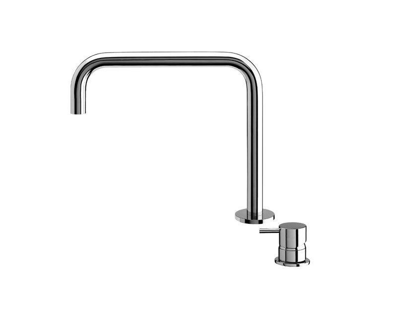 Chromed brass washbasin tap FLOW  T1.14+T1.B1.12H by Water Evolution