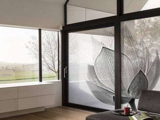 Self-adhesive transparent fabric for covering windows FLOWER by ACTE-DECO