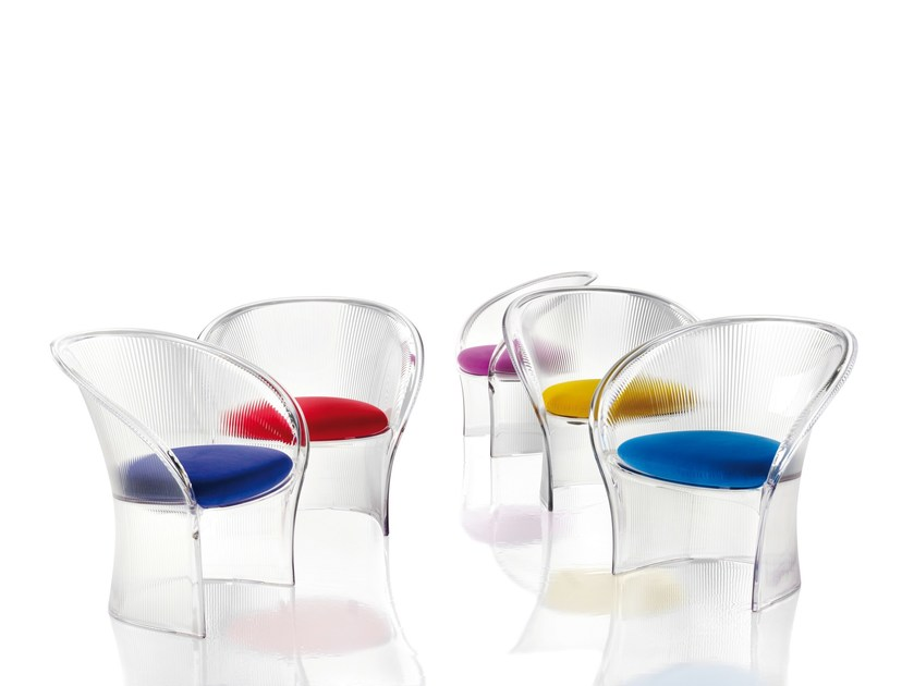 Polycarbonate easy chair with armrests FLOWER by Magis