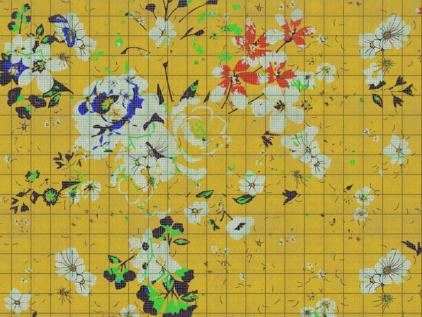 Digital printing wallpaper with floral pattern FLOWER PLAID by Architects Paper