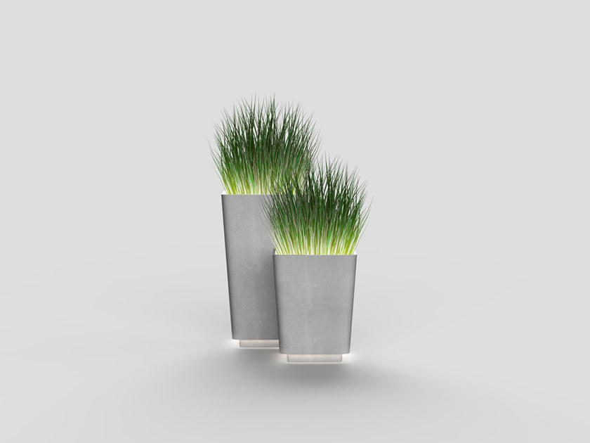 High square cement Flower pot with light BRENTA | Flower pot by Neri