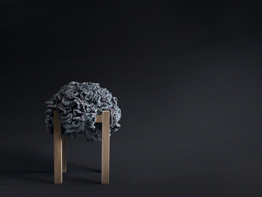 Wooden stool FLOWER POUFFE STOOL by iota project