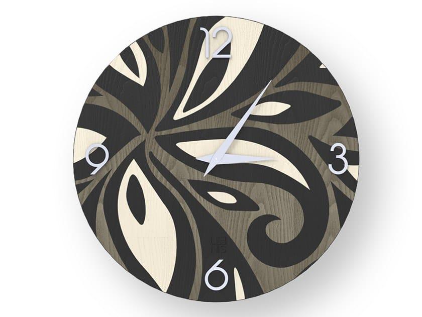 Orologio da parete in legno intarsiato FLOWERS COLD | Orologio by LIGNIS®