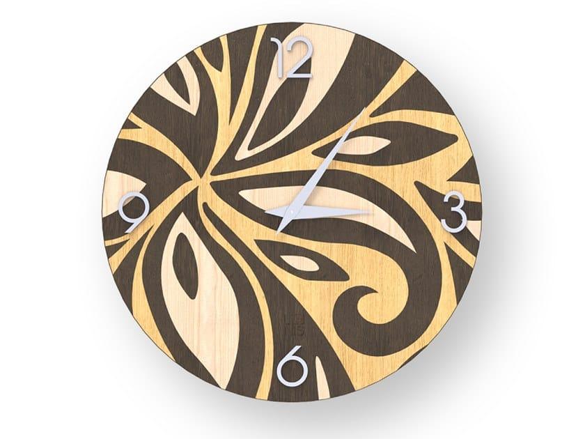 Orologio da parete in legno intarsiato FLOWERS WARM | Orologio by LIGNIS®
