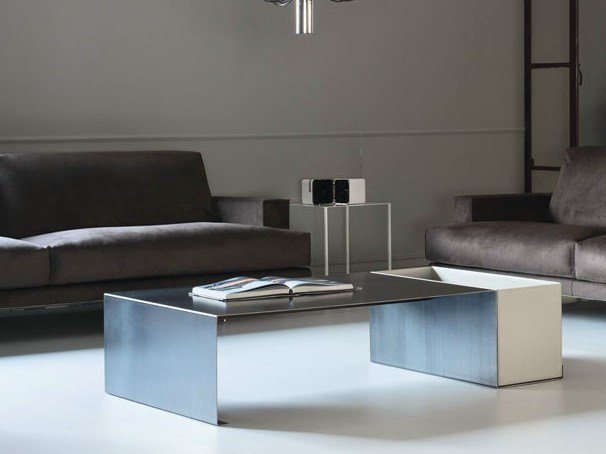 Rectangular coffee table with integrated magazine rack FLOYD by Bodema