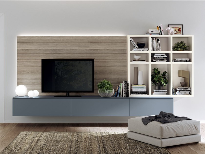 Sectional storage wall FLUIDA - Indipendent kitchen module by Scavolini