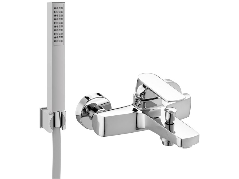 Wall-mounted bathtub mixer with hand shower FLY | Bathtub mixer with hand shower by BIANCHI RUBINETTERIE