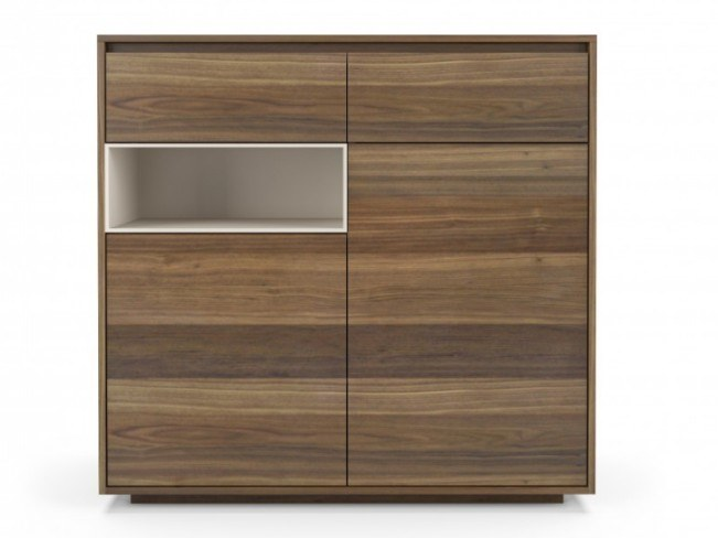 Walnut highboard with doors with drawers FLY | Highboard by Huppé