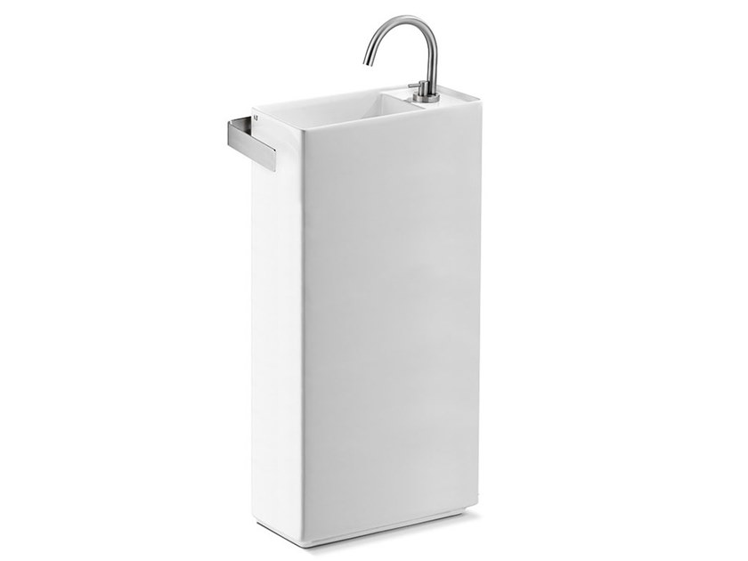 Freestanding rectangular ceramic handrinse basin FLY MINI TOWER by A. e T. Italia