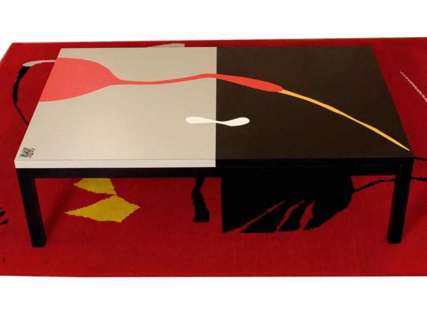 Low lacquered rectangular laminate coffee table FLY ONE by Mirabili