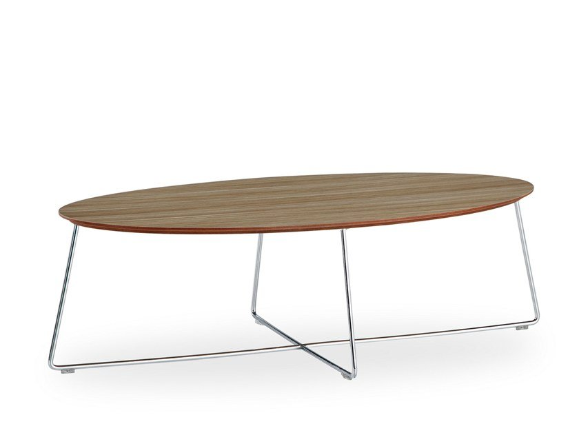 Oval wood veneer coffee table FLY | Oval coffee table by B&T Design