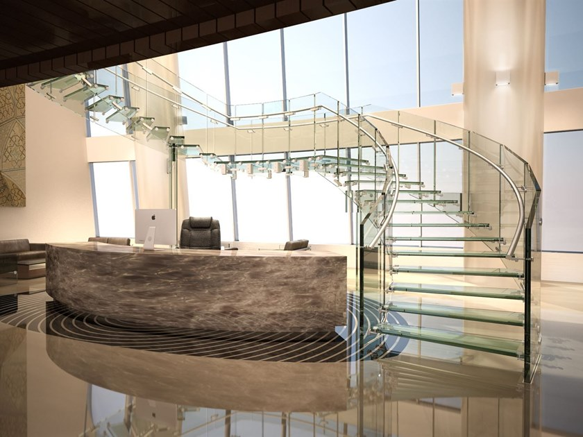 Glass Open staircase FLY COMMERCIAL by Siller Treppen
