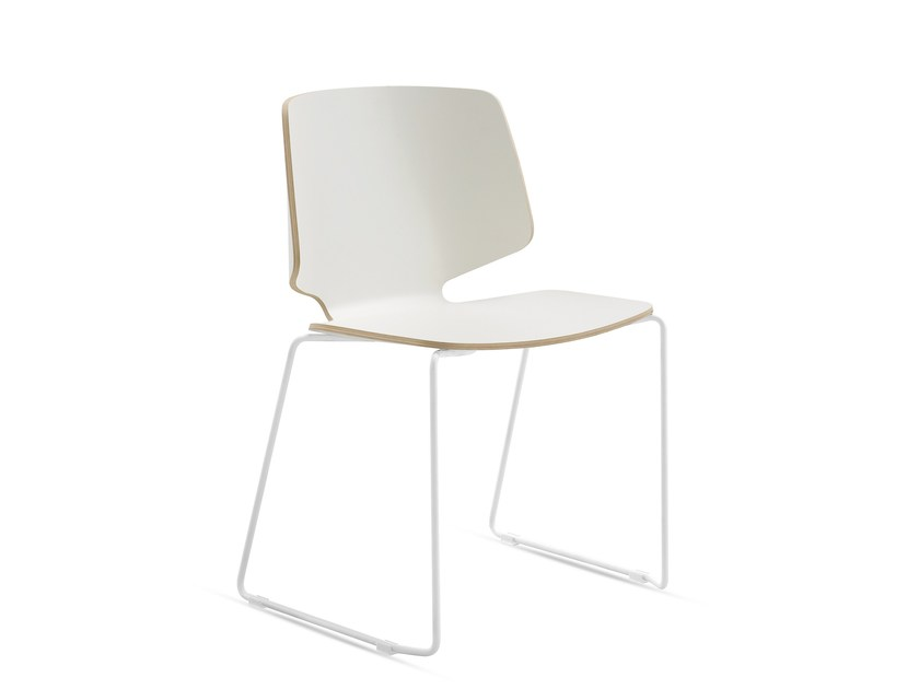 Sled base multi-layer wood chair FLY-T by DOMITALIA