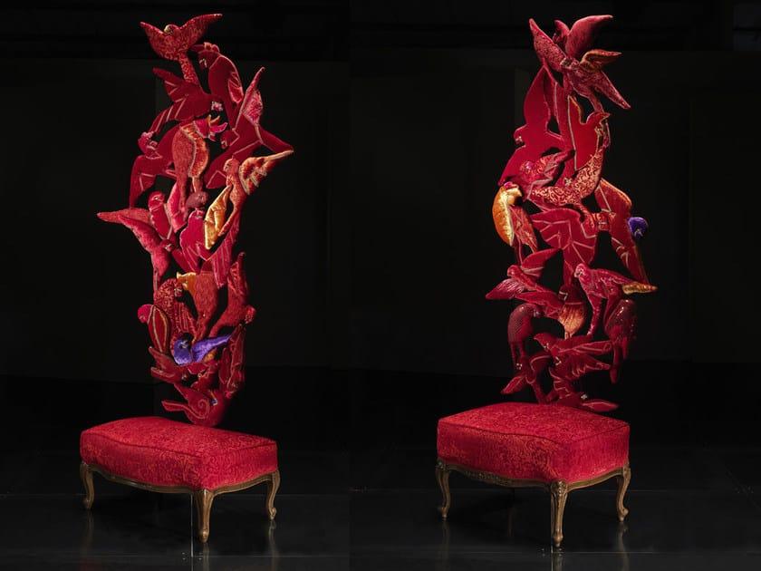 Low upholstered velvet stool FLYING by Mirabili