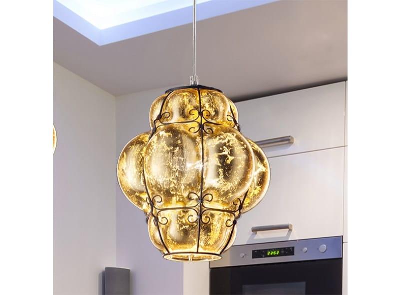Murano glass pendant lamp FOGLIA ORO MS 207 by Siru