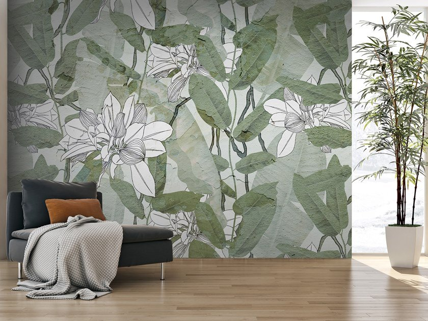Washable wallpaper with floral pattern FOGLIE INTONACO by Carta da Parati Artistica