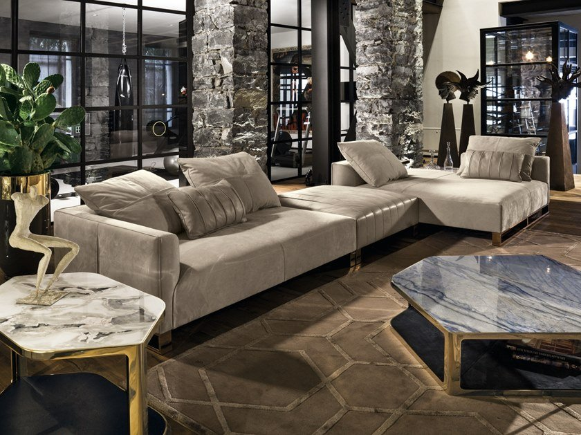 Modular leather sofa with chaise longue FOLD | Modular sofa by Longhi