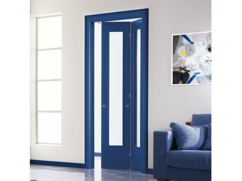 Folding lacquered wood and glass door Folding door by Ital-Plastick