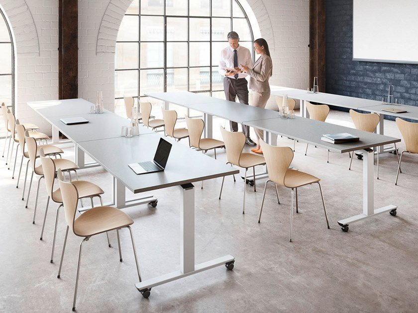 Modular folding meeting table with casters CREW | Folding meeting table by PALMBERG