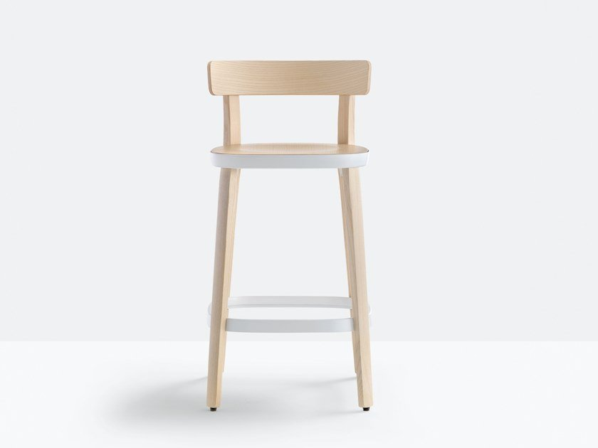 High ash stool with back FOLK 2936 by Pedrali
