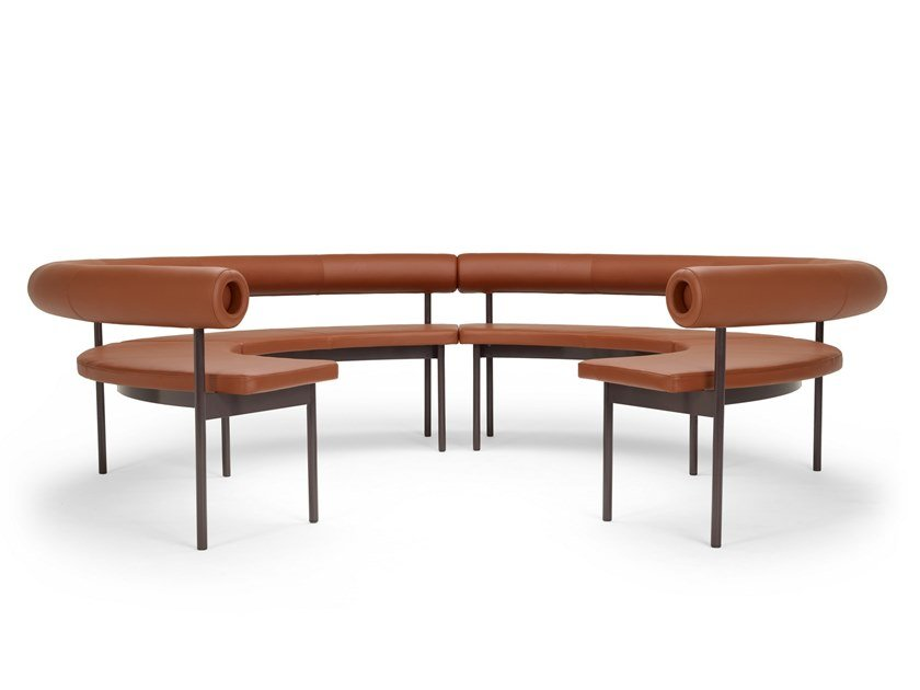 Curved leather sofa FONT OPEN CIRCLE by Offecct