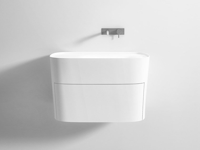 Wall-mounted Corian® washbasin with drawers FONTE   Washbasin with drawers by Rexa Design