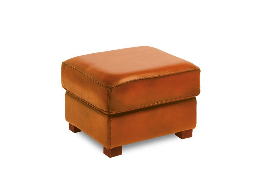 Tanned leather pouf / footstool CHATHAM | Footstool by Neology