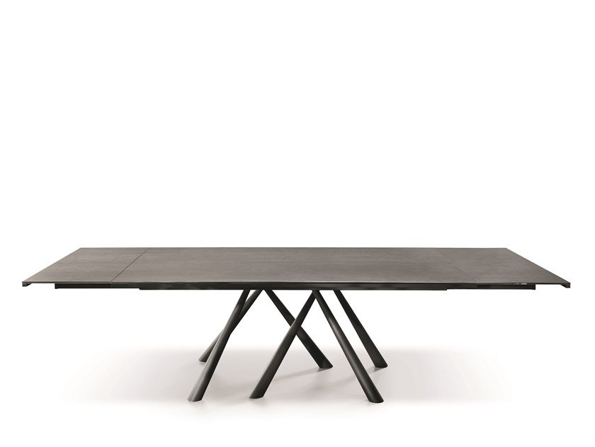 Extending rectangular glass ceramic table FOREST | Extending table by Midj