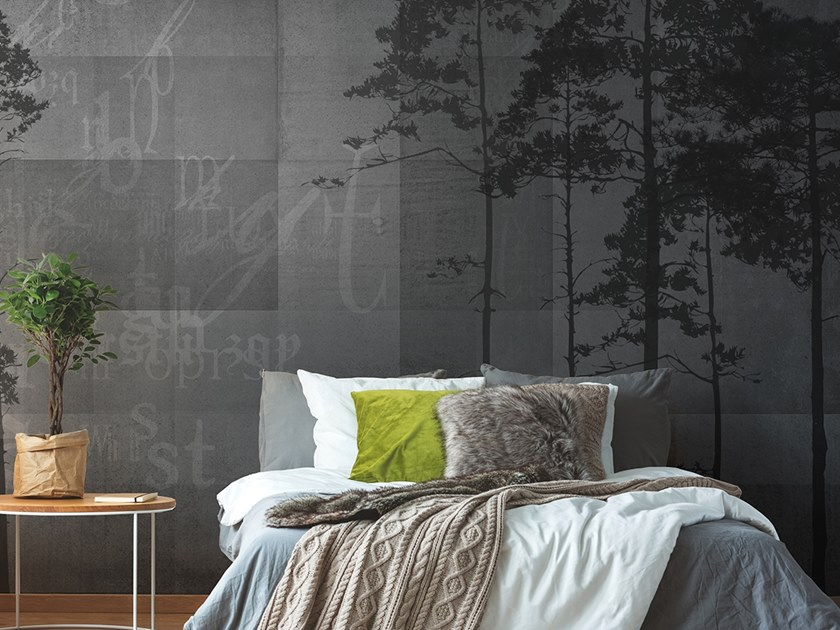 Washable panoramic glass-fibre wallpaper GRUNGE FOREST by N.O.W. Edizioni