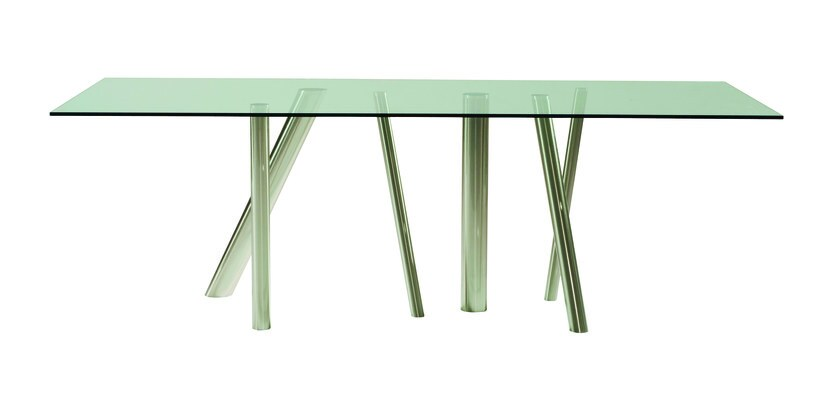 Rectangular tempered glass dining table FOREST | Rectangular table by ROCHE BOBOIS