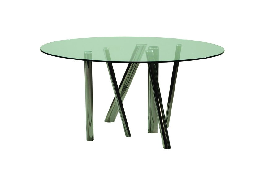 Round tempered glass dining table FOREST | Round table by ROCHE BOBOIS