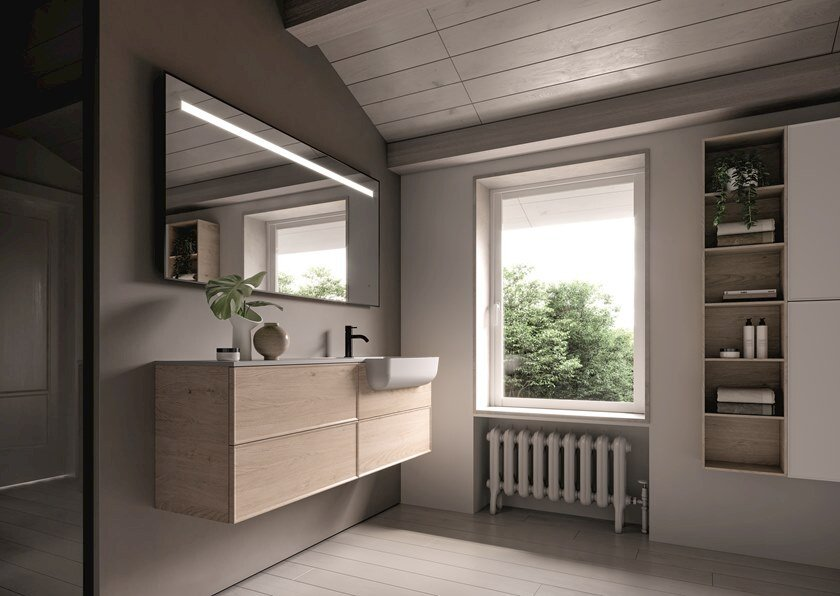 Wall-mounted vanity unit with drawers FORM 02 by Idea