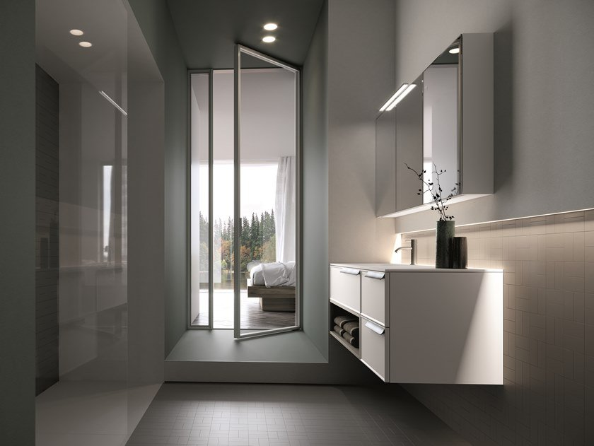 Wall-mounted vanity unit with drawers FORM 09 by Idea