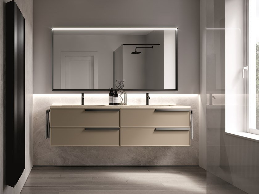 Lacquered wall-mounted vanity unit with drawers FORM 05 by Idea