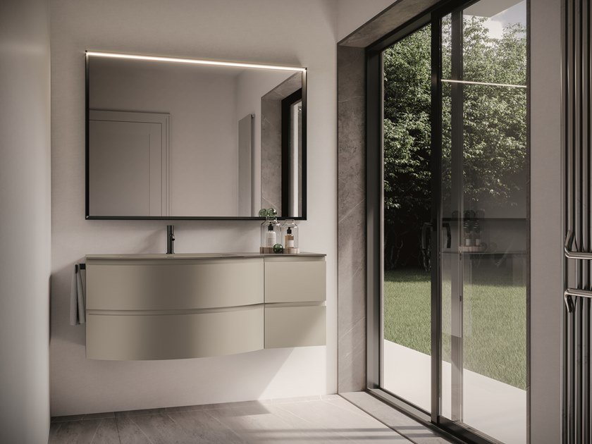Lacquered wall-mounted vanity unit with drawers FORM 08 by Idea