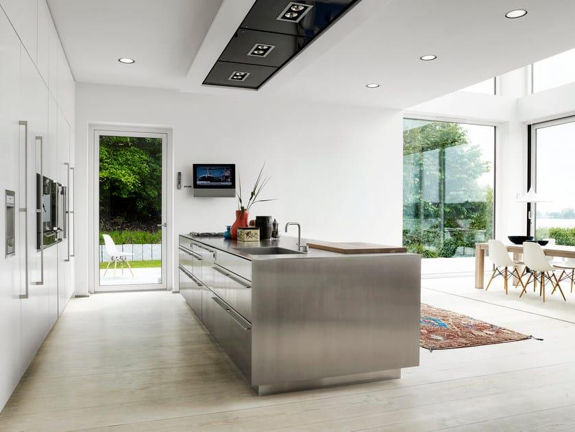 Mass Küche aus Edelstahl mit Kücheninsel FORM 2 - STAINLESS STEEL + ...