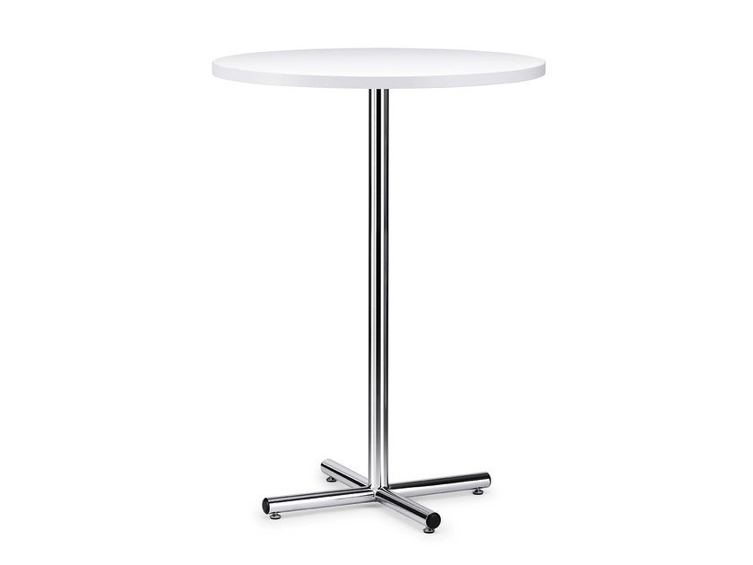 Round HPL high table with 4-star base FORMEO IS1 8000H by Interstuhl