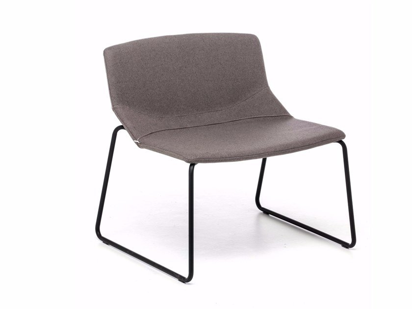 Sled base fabric easy chair with fire retardant padding FORMULA SLIM LO-SL by Inday