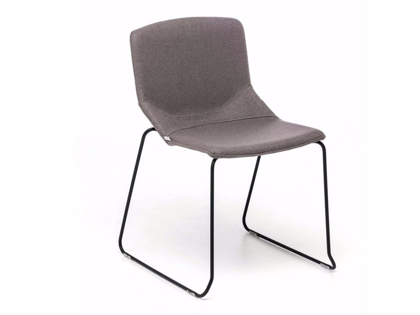 Sled base fabric chair with fire retardant padding FORMULA SLIM SL by Inday