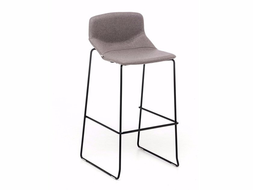 High sled base fabric stool with back FORMULA SLIM ST by Inday