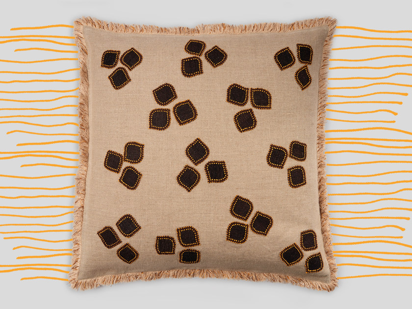 Hand embroidered cushion FORTABAT by Jupe by Jackie