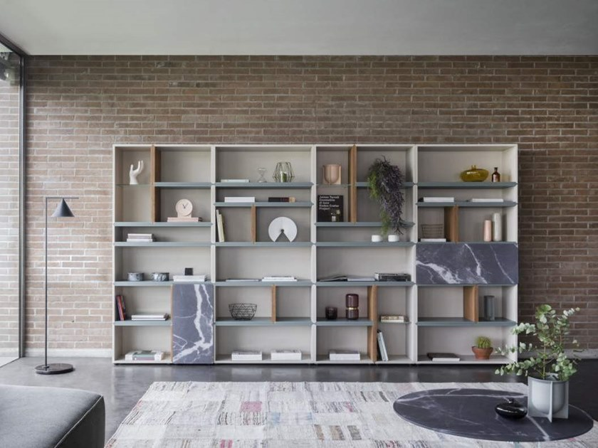 Contemporary style open freestanding lacquered wooden bookcase FORTYFIVE by Lago