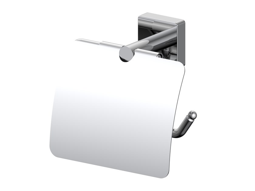 Metal toilet roll holder with cover FORUM QUADRA | Toilet roll holder with cover by INDA®
