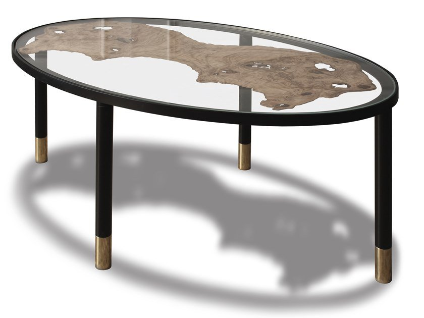 Contemporary style low glass coffee table for living room FOSSILE | Oval coffee table by HEBANON