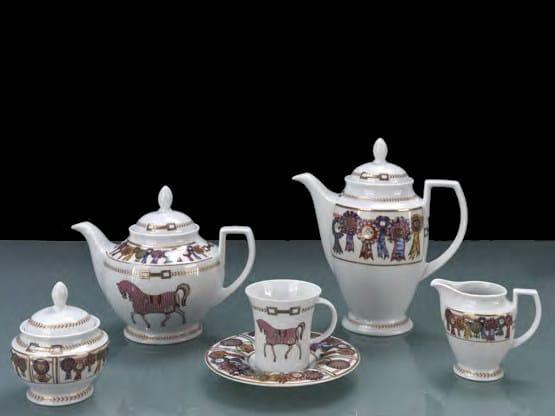 Porcelain tea set FOUR HORSES | Tea set by Formitalia