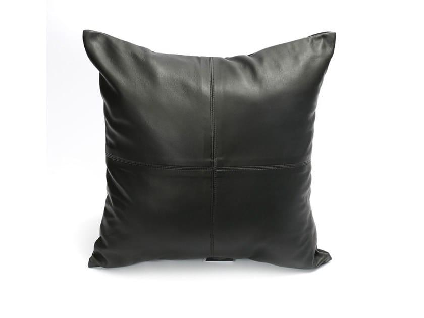 Square leather cushion FOUR PANEL by Bazar Bizar