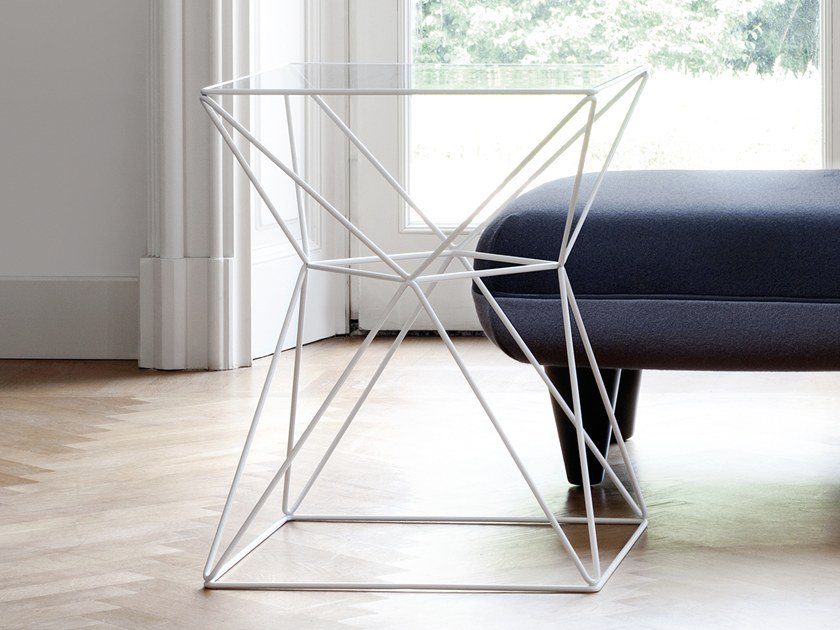 Square glass and steel coffee table FOXHOLE by spHaus
