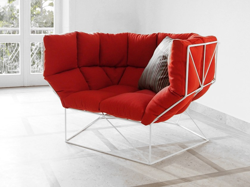 Fabric easy chair with armrests FOXHOLE by spHaus